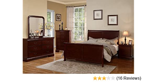 Poundex PDEX-F9231Q/F4735-36-37-38 Louis Phillipe Cherry Queen Size Bedroom  Set Featuring French Style Sleigh Platform Bed and Matching Nightstand, ...