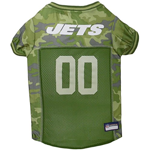 (NFL New York Jets Camouflage Dog Jersey, Medium. - CAMO PET Jersey Available in 5 Sizes & 32 NFL Teams. Hunting Dog Shirt)