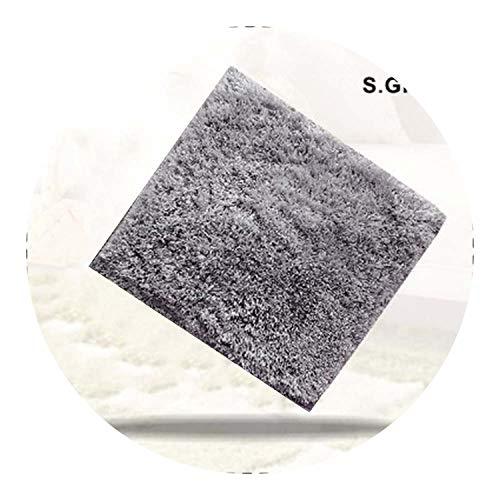 New Long Hair Memory Foam Area Rugs Children Kids Play Mat Soft Patchwork Carpet,Gray,60X60CM