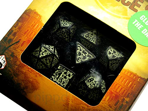 Q Workshop Nuke Revised Black & Glow-in-The-Dark Dice Set (7)