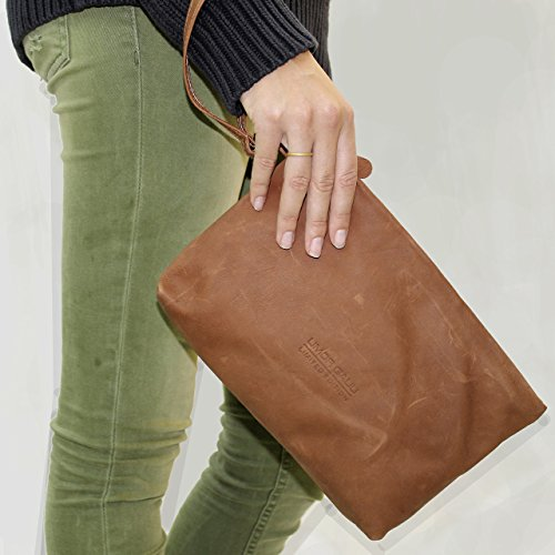 Rustic brown leather wristlet Wrist strap clutch with handle Handmade Makeup evening bag for woman