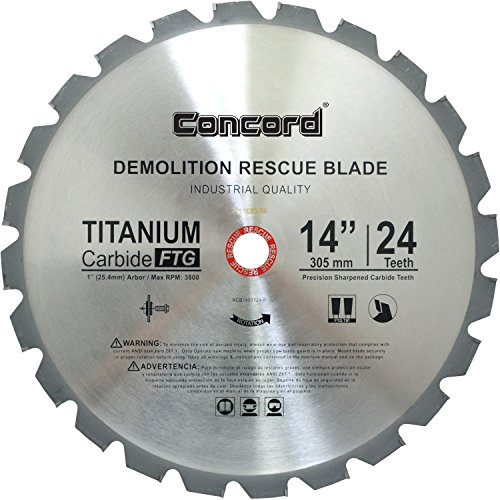 Concord Blades RCB1400T024HP 14-Inch 24 Teeth TCT Demolition Rescue Carbide Saw - 20 Mm Blade Rescue