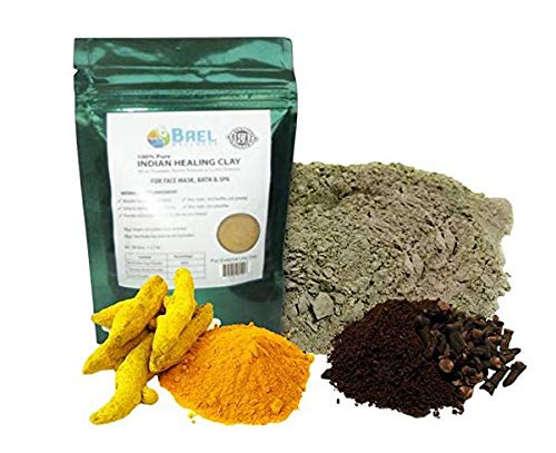 Bael Wellness Indian Healing Clay, Bentonite Clay with Turmeric & Cloves Powder. Pore Cleansing Facial Mask. Organic and