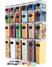 Airtight Food Storage Container Set Kitchen & Pantry Organization BPA-Free Plastic Canisters Storage Containers with Lids Durable Ideal for Cereal, Flour & Sugar - Labels, Marker & Spoon Set(24 PC)