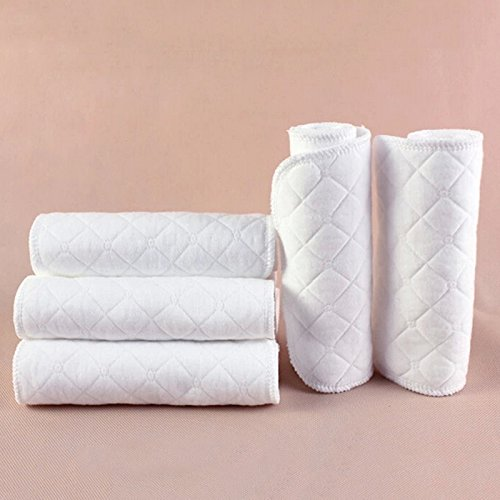 10 St/ück wiederverwendbare Babywindeln Stoffwindel Weiche Baumwolle windel Einlagen Waschbare Infant Urin Pad Blatt Wei/ß