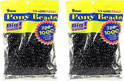 Darice 06121-2-04 1000 Count Pony Beads, 9mm, Opaque Black (2 packs) Black Plastic Bead