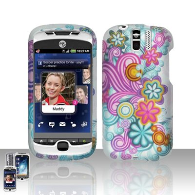 Rubberized Silver Purple Blue Yellow Pink Wave Flower Polka Snap on Design Case Hard Case Skin Cover Faceplate for Htc Mytouch Slide 3g