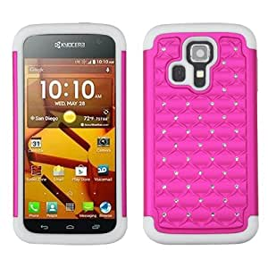 Dual Layer Plastic Silicone Hot Pink On White Spot Diamonds Hard Cover Snap On Case For Kyocera Hydro Icon C6730 (Accessorys4Less)