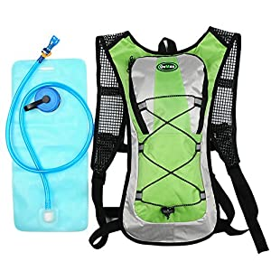 Hydration Pack with 2L Backpack Water Bladder  5 Points Improvement Newly Design Lightweight Outdoor Tactical Survival Reservoir Men Women Kids Camping Hiking Running Biking Bag (Green)
