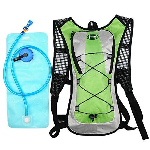 Hydration Pack with 2L Backpack Water Bladder 5 Points Improvement Newly Design Lightweight Outdoor Tactical Survival Reservoir Men Women Kids Camping Hiking Running BikingBag (Green)