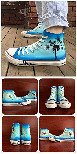 Wen Design Dandelion Pianta Erbacea Scarpe Dipinte A Mano Sneaker Di Tela Unisex