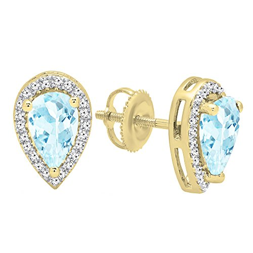 Aquamarine Pear Earrings - Dazzlingrock Collection 14K 8X5 MM Each Pear Aquamarine & Round White Diamond Stud Earrings, Yellow Gold