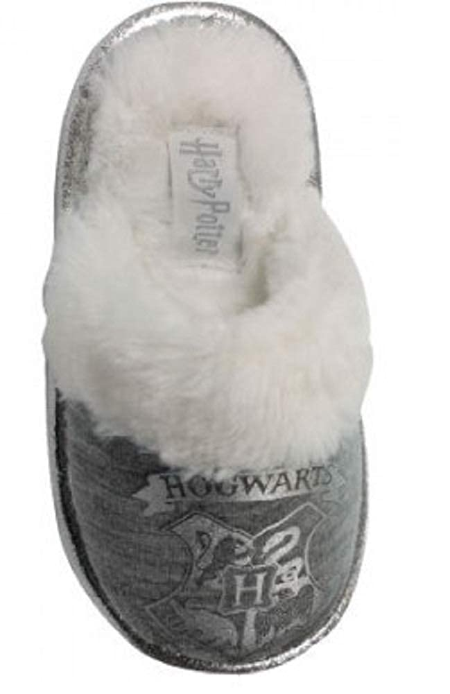 Kids//Childrens Harry Potter Hogwarts Grey Slippers Booties Girls Mules Size 10-5