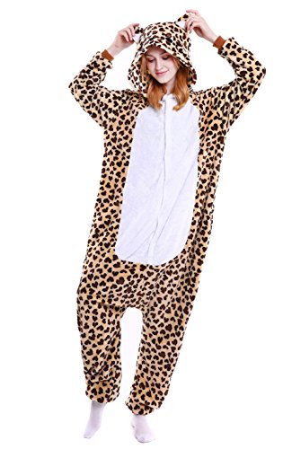 LeaLac Unisex Onesie Animal Cosplay Stage Performance Costume Adult Pajamas Leopard -