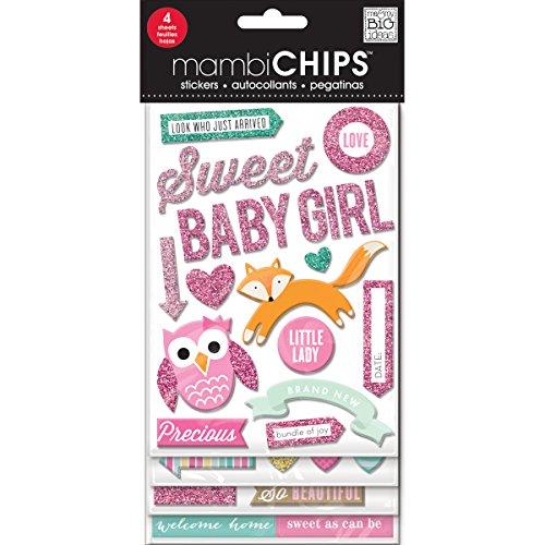 me & my BIG ideas Mambi Chips Sweet Baby Girl Scrapbooking Supplies -