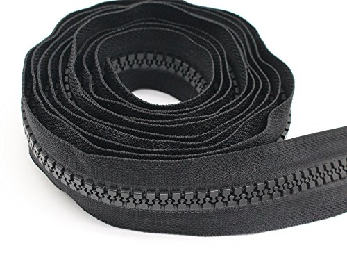YaHoGa #10 Large Plastic Zipper by The Yard Bulk Black 10 Yards with 10pcs Long Sliders for DIY Sewing Tailor Crafts Bags Tents (10 Yards)