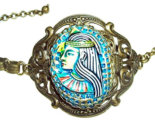 EGYPTIAN REVIVAL Bracelet Large PHARAOH Cameo Antique Brass BookChain Book Chain ()