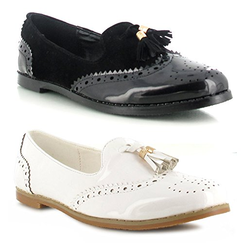 WOMENS LADIES GIRLS WHITE BLACK FAUX PATENT SUEDE SCHOOL COLLEGE OFFICE WORK SMART CASUAL FORMAL SHINY FLAT BROGUE TASSLE LOAFER SHOES BLACK FAUX PATENT/SUEDE cJhSLg1kJ