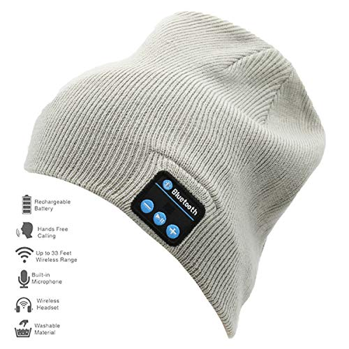 Rotus Bluetooth Beanie Hat, Unisex Winter Outdoor Sport Knit Cap with Built-in Wireless Stereo Headphone Headset Earphone Speaker Mic for All Bluetooth Cell Phones, Tablets & Laptops (Light Grey)