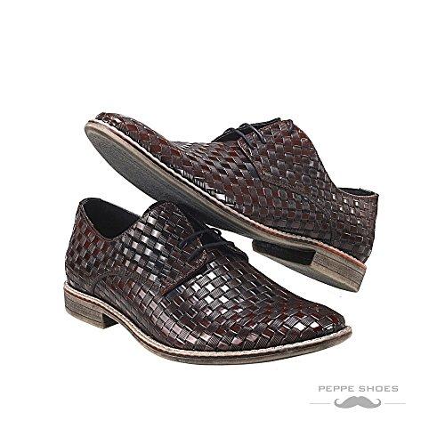 Modello Pistoia - Handmade Italiennes Cuir Pour Des Hommes Bordeaux Chaussures Oxfords - Cuir de vachette Cuir gaufré - Lacer