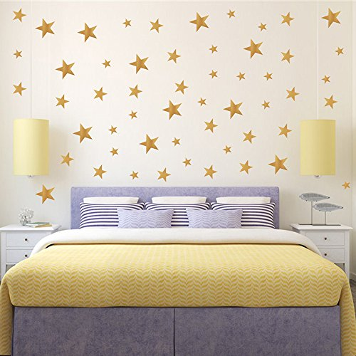 YOKIND 130Pcs Gold Stars Wall Decal Stars Pattern DIY Wall Stickers for Kids Rooms Home Decor