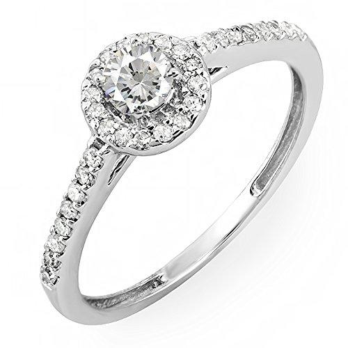 0.40 Carat (ctw) 14K White Gold Round Cut Diamond Ladies Engagement Bridal Halo Ring (Size 4.5)