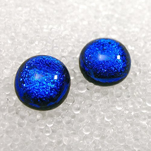- Dichroic Fused Glass Post Earrings, Sparkling True Blue Studs, Small Blue Stud Earrings