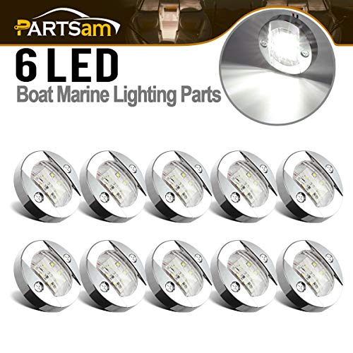 Stern Light Flush (Partsam 3 inch 12V Round Marine Navigation Light Chrome Boat LED Transom Mount Stern Anchor Lights Flush Mount, IP68 Submersible, 12V Boat Marine Round Led Cockpit Lights (Pack of 10))