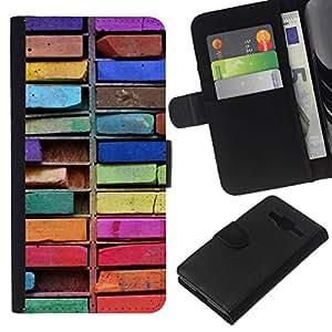 All Phone Most Case / Oferta Especial Cáscara Funda de cuero Monedero Cubierta de proteccion Caso / Wallet Case for Samsung Galaxy Core Prime // Colorful Drawing Art Messy