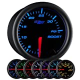 "GlowShift Black 7 Color 35 PSI Turbo Boost Gauge Kit - Includes Mechanical Hose & Fittings - Black Dial - Clear Lens - for Car & Truck - 2-1/16"" 52mm"