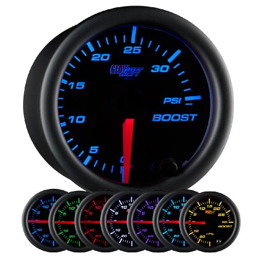 (GlowShift Black 7 Color 35 PSI Turbo Boost Gauge Kit - Includes Mechanical Hose & Fittings - Black Dial - Clear Lens - for Car & Truck - 2-1/16