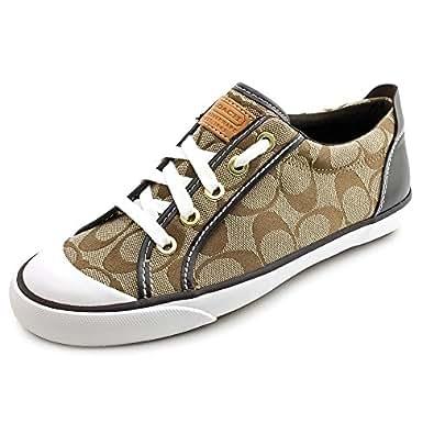 Coach Barrett Khaki / Chocolate Sneakers Shoes Size 6.5