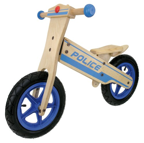 M-Wave Child's Wooden Running Bike (Police) (Car Wooden Pedal)