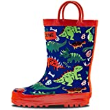 LONECONE Rain Boots with Easy-On Handles in Fun Patterns for Toddlers and Kids, Puddle-a-Saurus Dinosaur, Toddler 8