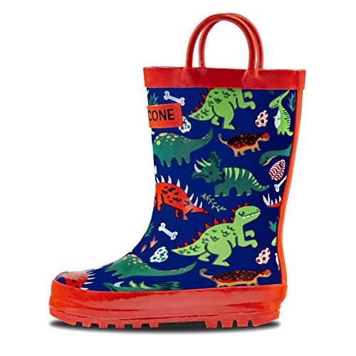 LONECONE Rain Boots with Easy-On Handles in Fun Patterns for Toddlers and Kids, Puddle-a-Saurus Dinosaur, 7 -