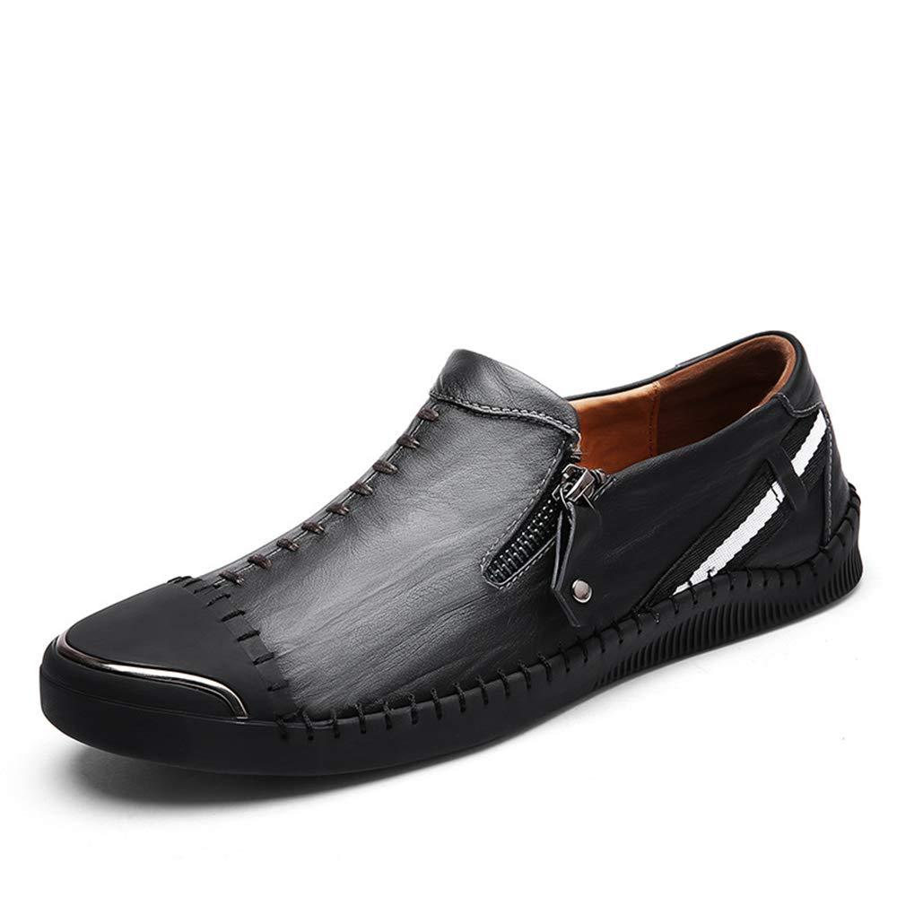Qiusa   Herren Größe Zip Driving Schuhe Echtleder weiche Sohle Rutschfeste Casual Echtleder Schuhe Slipper (Farbe : Braun, Größe : EU 44) Schwarz 4a8d95