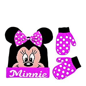Disney Toddler Girls Minnie Mouse Winter Hat and Mitten Set, Age 2-4 years