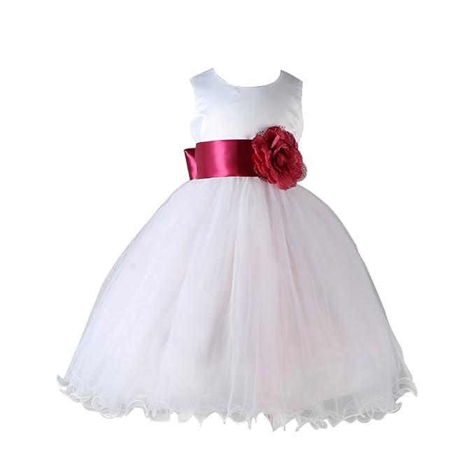 Yefree Niños Niña de las flores Vestidos Tulle Vestido de novia Bautizo de Dama de honor