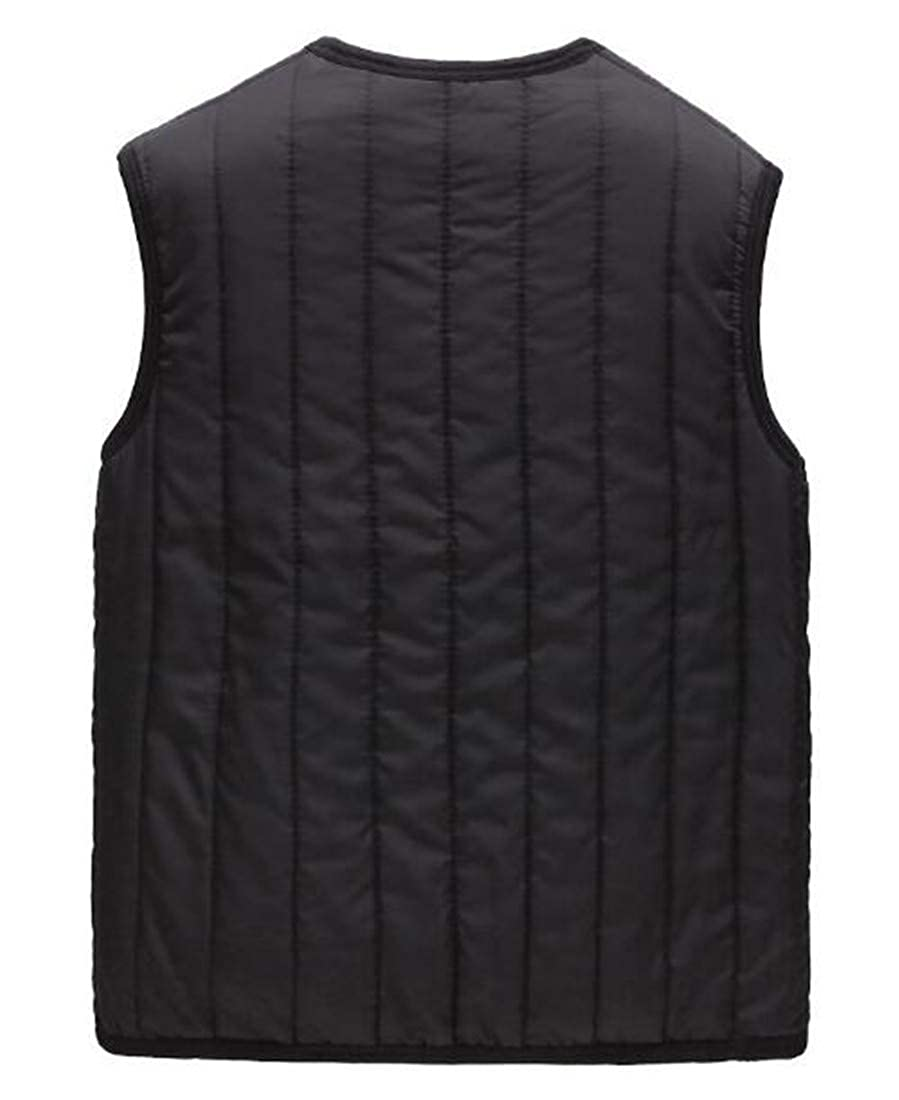 BYWX Men Winter V-Neck Thick Fleece Lined Heated Vest with Battery Pack