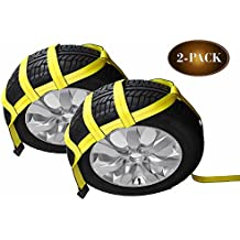 Tow Dolly Basket Straps with Flat Hooks | 2-Pack | Car Wheel Straps for Auto Hauling by DC Cargo Mall