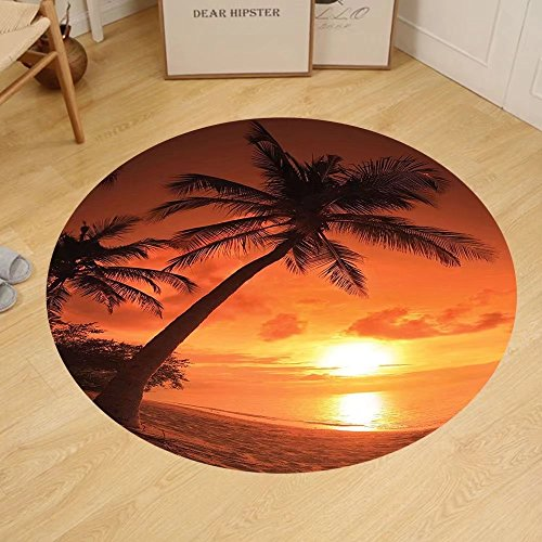 Gzhihine Custom round floor mat Tropical Twilight Dusk at Sandy Beach with Coconut Palms Maldives Summer Panorama Bedroom Living Room Dorm Coral Orange - Palm Outlet Beach At Stores