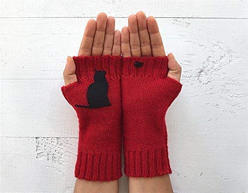 Wool Gloves with cat, Hand Warmers, Kitty Gloves, Fingerless Gloves, Red arm warmers, Gift For Her, Cat Lover, Cat Gift