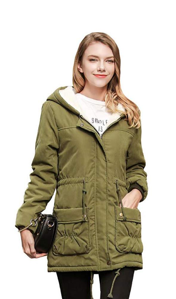 Wicky LS Women's Autumn Winter Hoody Fleece Outwear Coat with Drawstring (3XL, Style 2 Army Green)