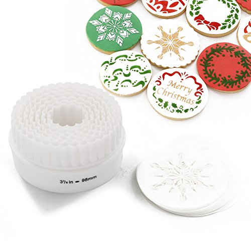 Christmas Cookie Cutter and Stencil Set, 12-piece Cookie Stencil 7-pieces Two-sided Pastry Cutters (Snowflake-stencil and cutter set)