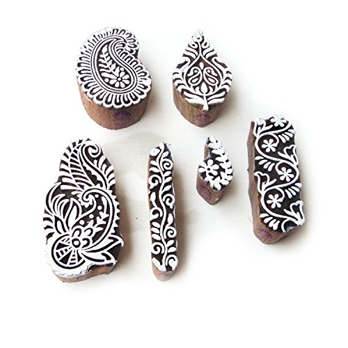 Foam Stamps Patterns (Asian Leaf and Paisley Designs Wooden Block Stamps (Set of 6))