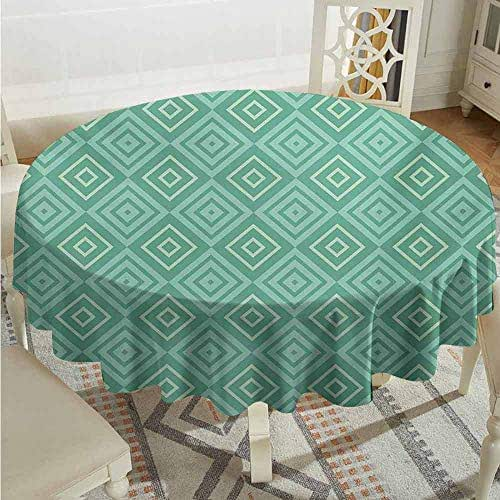 XXANS Washable Round Tablecloth,Mint,Vertical Nested Squares Diamond Line Pattern Geometrical Classy Print,for Events Party Restaurant Dining Table Cover,43 INCH,White Almond Green Mint
