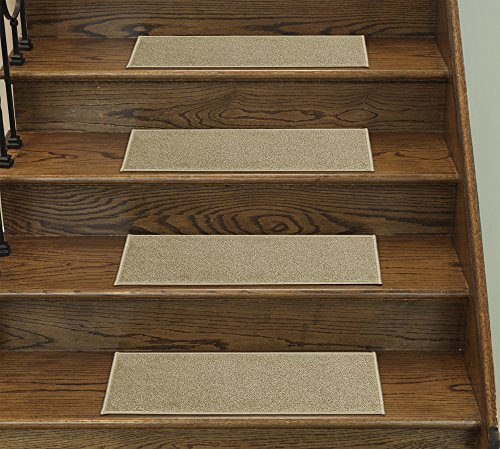 Backed Carpet Set (Casatreads Beige 14 Piece Stair Tread Set - Non Slip Rubber Backed Stair Mats (9