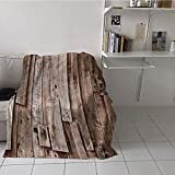 Khaki home Children's Blanket pop Soft Blanket Microfiber (50 by 60 Inch,Wooden,Vintage Barn Shed Floor Wall Planks Sepia Art Old Natural Plywood Lodge Image Print,Grey Brown