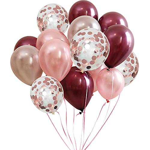 FUNPRT Burgundy Latex Balloon and Rose Gold Confetti Balloons 12 inch 50 Count]()