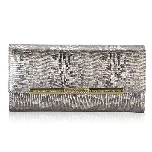 Hynes Victory Women Slim Clutch Wallet(Gold) - Gold Tone Eagle Top